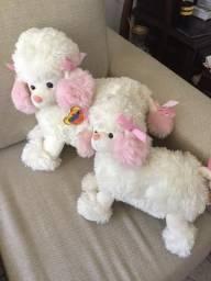 Dupla de Pelúcias cachorro poodle com orelhas rosa, Mãe e Filha!