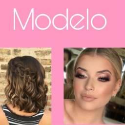 Modelo maquiagem e penteado