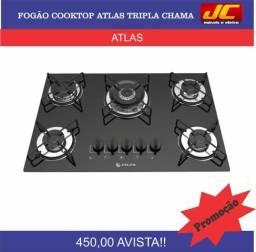 Cooktop 5 bocas tripla chama atlas novo r$450,00 reais