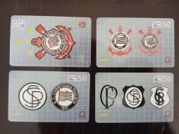 Título do anúncio: 4 Cartões Telefônicos - Série Completa - Escudos do Corinthians