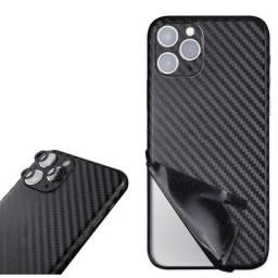 Adesivo fibra de carbono para iPhone 12 e outros modelos