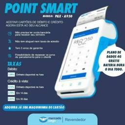 Título do anúncio: Point Smart máquina de cartão sem aluguel, Conexão Bluetooth, Wi-fi + Chip 4G<br><br>