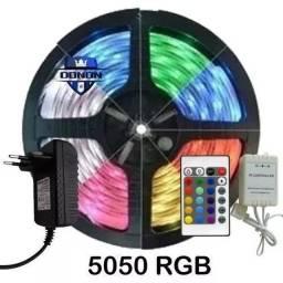 KIT FITA LED RGB 5050 COLORIDA 16 EFEITOS DE CORES