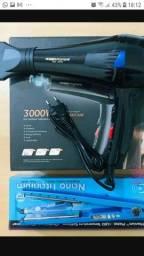 Título do anúncio: Secador de cabelo + prancha titaniun