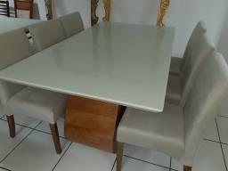 Mesa com tampo de vidro laqueado +6 cadeiras modelo Fernanda