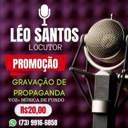 Título do anúncio: Gravação De Spot Comercial Para Carro De Som - Propaganda Rádio - Léo Santos.