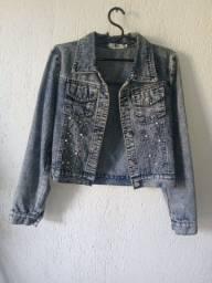 Jaqueta feminina jeans bolsos marisa