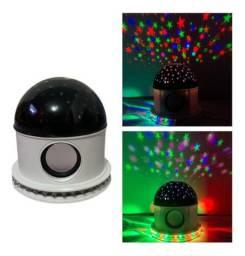 Luminaria Abajur Led Bluetooth Projetor Globo Estrela Festa