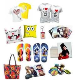 Camisetas, bonés, sandálias, canecas, brindes personalizados