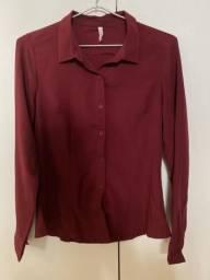 Camisa Social - cor bordô - Tamanho P - NOVA
