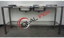 Pia 1.80mt 2cubas Aço Inox Fabricante Ideal Inox