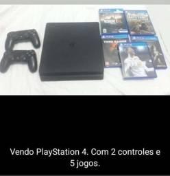 Título do anúncio: PS4 1TB, 2 CONTROLES, 5 JOGOS