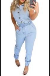 Título do anúncio: Macacão Jeans Jogger Longo Macaquinho Blogueira estilo mom