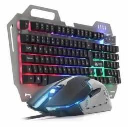 Kit Gamer teclado e mouse com iluminação de LED e acabamento de metal