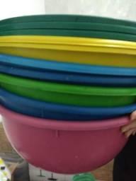 10 Bacias redondas plástico