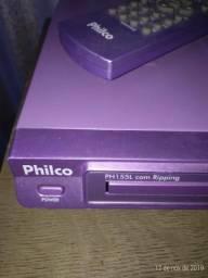 Dvd lilás da philco com microfone e controle remoto + entrada de áudio e video