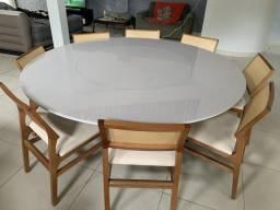 Mesa redonda 2m, centro giratório Sier, vidro, 08 cadeiras Parma