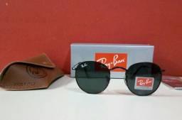 Óculos de Sol Ray Ban Round Metal Redondo Todo Preto Unissex Novo efa4bbfb9d