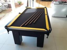 Mesa Charme Cor Preta Tecido Preto e Borda Amarela Mod. LMNV2216