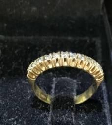Anel Meia Aliança De Ouro 18k 750 com 12 Diamantes 3.0 ponto cada 4,45gr nova super linda