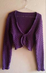 Casaco Crochet - M - Roxo