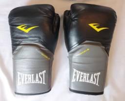 Luvas Muay Thai . Preta/Cinza . Everlast Pro Style Elite . Tamanho 14