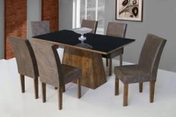 Título do anúncio: Mesa de jantar luxo 6 cadeiras 100 % MDF Com tampo de vidro em Mega Promoção !