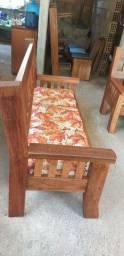 Sofá rústico 3 lugares - madeira maciça