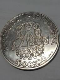 Moeda Prata 40mm 1000 Escudos Portugal