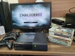 Xbox 360 super slin 3 controles e 20 jogos apenas 400 reais