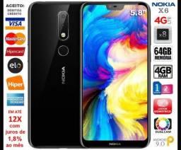 """Nokia X6 Android One 4G 64GB, 4GB Ram, Tela 5.8"""", Dual Câm, Novíssimo, Caixa, NF, Garantia"""