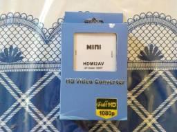 Mini conversor de HDMI para RCA áudio vídeo AVI