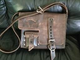 Bolsa feita à mão couro retrô