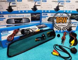 Kit Câmera de Ré e Retrovisor Monitor LCD