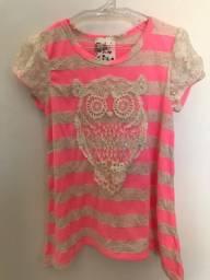 Camiseta feminina da marca Jenna & Jessie - 5 anos - Rosa
