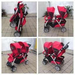 Carrinho Chicco Gêmeos Cortina Together Double Stroller Higienizado