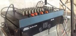 Título do anúncio: Som com amplificador spa.750 mas mesa 8 canais e par de caixas