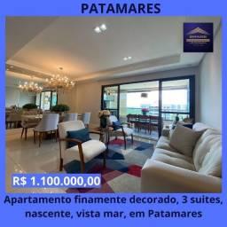 Título do anúncio: Oportunidade - Lindo apartamento 3 suítes, varanda, nascente, vista mar em Patamares