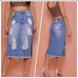 Título do anúncio: Saia jeans midi nova