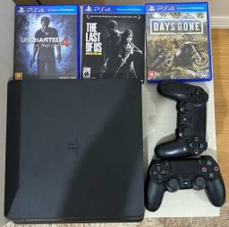 Vendo PS4, 2 controles, 15 jogos.