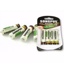 Kit 4 Pilhas Recarregável Songpus AA 4700mAh | AAA 2700mAh