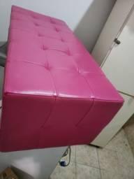 Puff divã Pink couro legítimo bovino