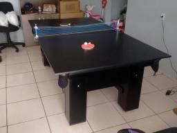 Mesa com 4 Pés Cor Preta Tecido À escolha Com kit de Ping Pong Mod. YIPO3287