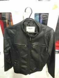 Linda jaqueta de couro infantil preta, tam. 10