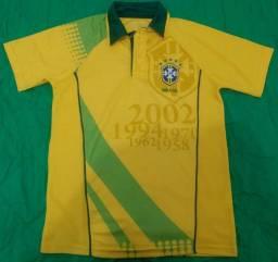 Camiseta Seleção Brasileira c/ gola tam.: P s/ N?