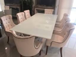 Mesa jantar 8 lugares, tampo de vidro e base metálica