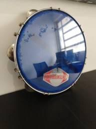 Título do anúncio: Contemporânea Pandeiro 10 Azul Tarraxa Dupla Cromado
