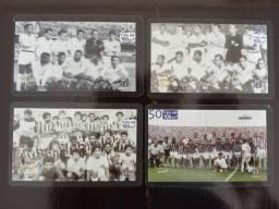 Título do anúncio: 4 Cartões Telefônicos - Série Completa - Equipes históricas do Santos
