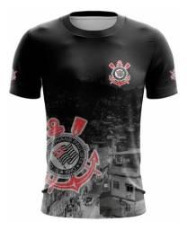 Camiseta Club Corinthians Preto e Cinza Futebol Favela