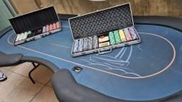 Título do anúncio: Mesa de Poker + Maletas profissionais com fichas